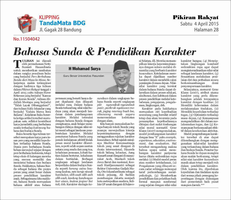 Bahasa Sunda Pendidikan Karakter Tandamata Bdg